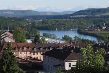 HBBZ mit Rhein, Aare und Alpen