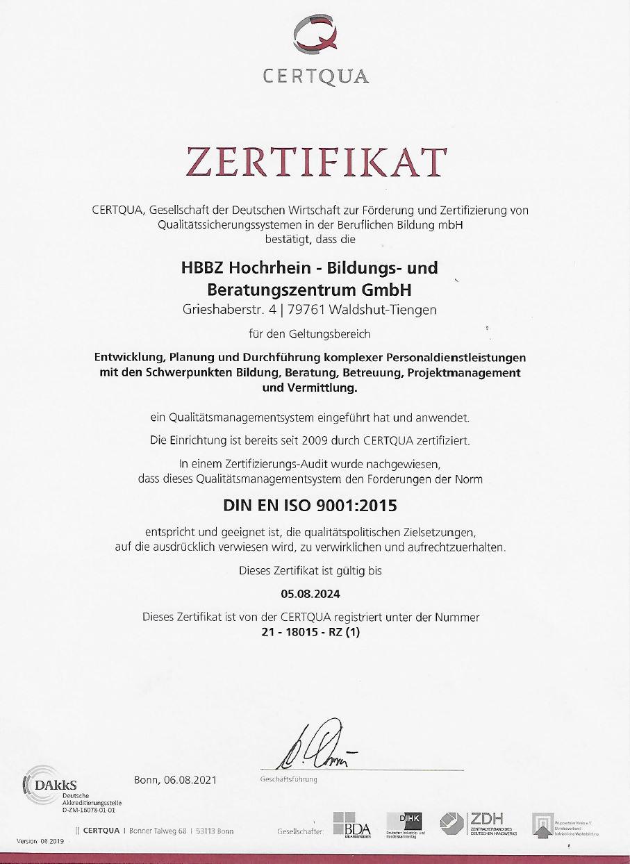 Zertifizierter Bildungsträger nach DIN EN ISO 9001:2008